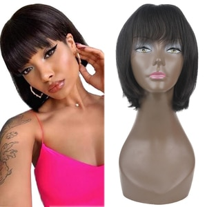 Short Straight Bob Synthetic Wigs With Bangs Black Color High Temperature Machine Made Glueless Soft Wig For Black Women X-TRESS