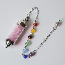 7 Chakra Stone Chain Wishing Bottle Spirit Pendulum Natural Chip Stone Crystal Filled Glass Pyramid Energy Pendant for Women Men
