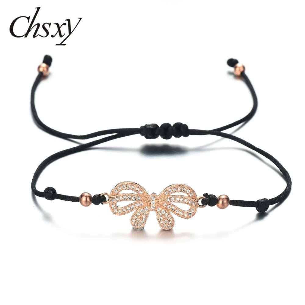 Chsxy romântico rosa de ouro zircônia cúbica arco thread pulseiras para as mulheres presente da amizade pulseiras artesanais & pulseiras desejo jóias