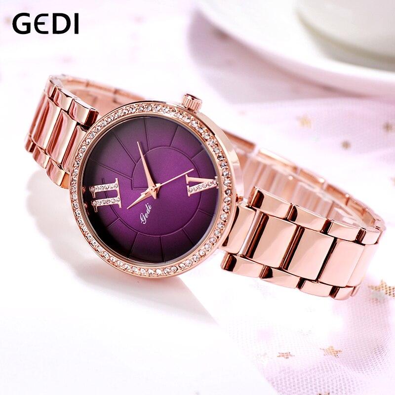 GEDI moda elegante mujeres relojes de aleación de oro de cuarzo Correa reloj de pulsera dama de diamantes de imitación de lujo diseño único letras de reloj