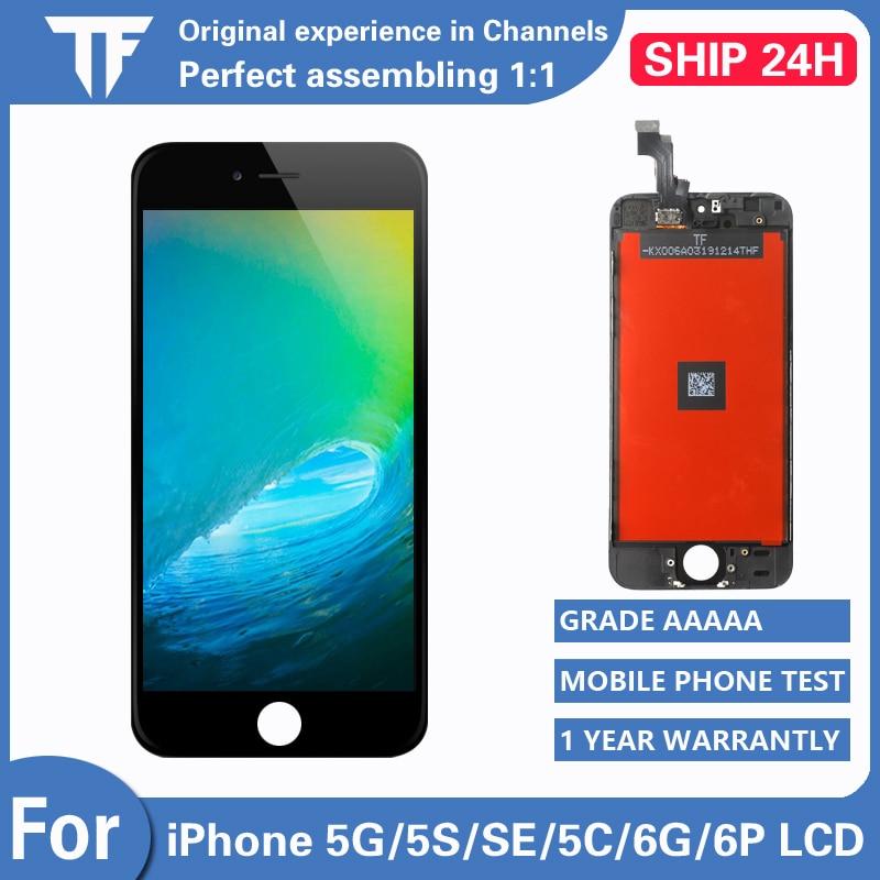Pantalla LCD AAA + + para iPhone 5 5S 5C SE, conjunto de digitalizador de reemplazo de pantalla táctil para iPhone 6G 6Plus, pantalla LCD No muerta