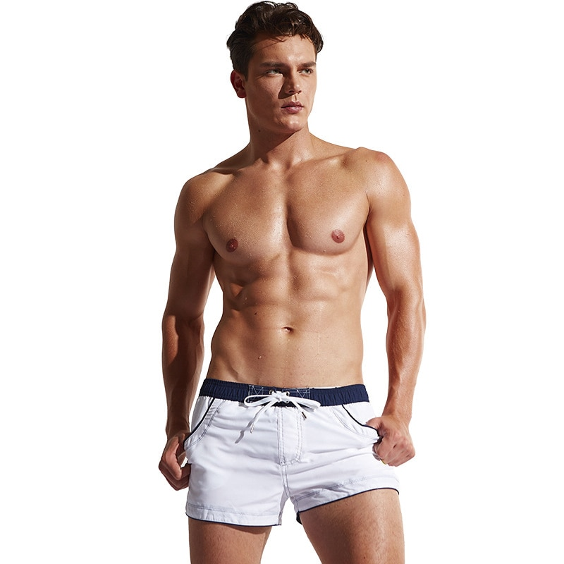 Летние мужские шорты-боксеры, плавки, пляжная одежда, пляжные трусы, плавки, Шорты для плавания, быстросохнущие костюмы для плавания, морски...