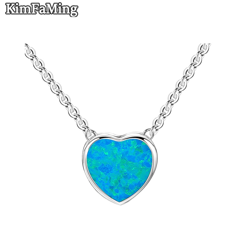 Beautiful Small Simple Female Solid 925 Sterling Silver Opal Heart  Pendant Necklaces Jewelry OPP135
