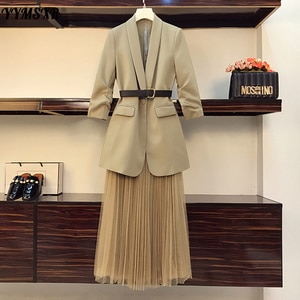 L-4XL Plus Size Women's 2021 Spring and Autumn New Loose Fold-sleeved Ladies Blazer + Fashionable Long Mesh Skirt Two-piece Suit