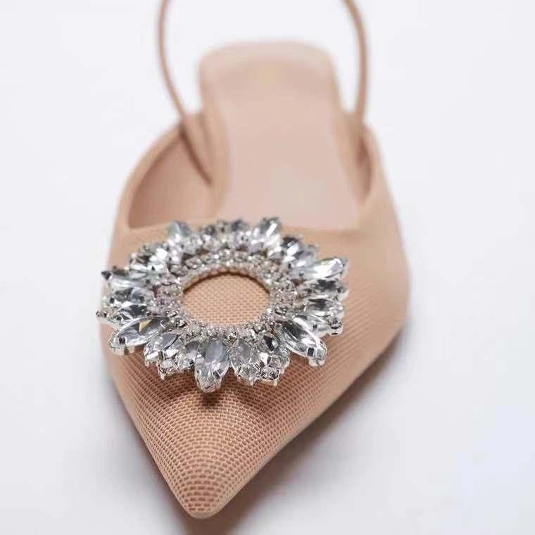 Sandálias de Verão Decoração de Diamante Sandálias de Renda Feminino Sandálias Stiletto Toe 2021 za