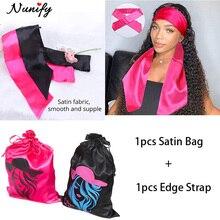 Satin Edge Hair Wrap With Satin Bag 2Pcs/Lot Wig Packaging Black Pink Scarf Wrap Hair Bundles Wig St