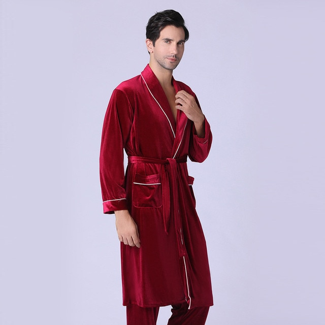 Men's or Women's New Long-sleeved Foreign Trade Home Service Gold Velvet Pajamas Suit Man /woman 4