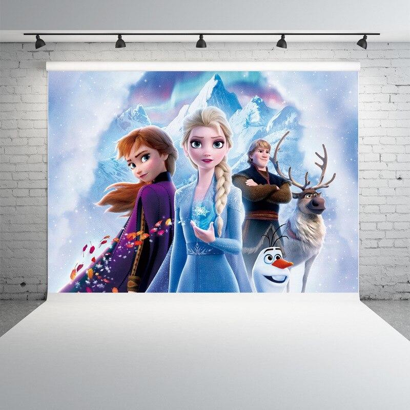 Disney Frozen 2 Вечерние Декорации для фотосъемки с занавесками тканевые Детские Вечерние Декорации для дня рождения