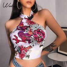 Weekeep-débardeur à imprimé Floral Dragon, haut de la cour, irrégulier, dos nu, Streetwear, Sexy, années 90