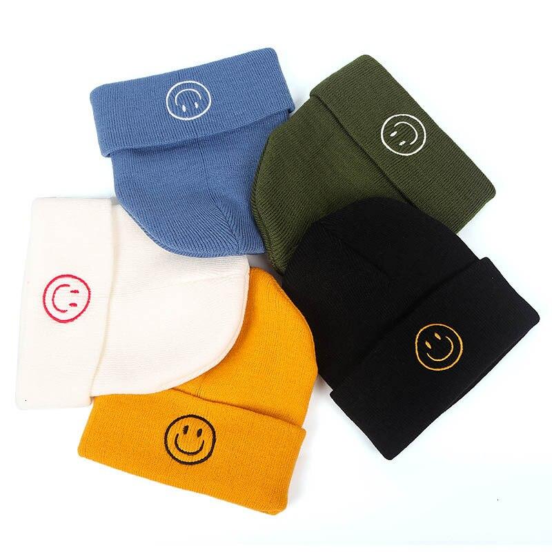 ¡Novedad de otoño 2019! Gorra tejida a ganchillo con una sonrisa bonita, gorro de lana para mujer, sombreros de invierno para niñas