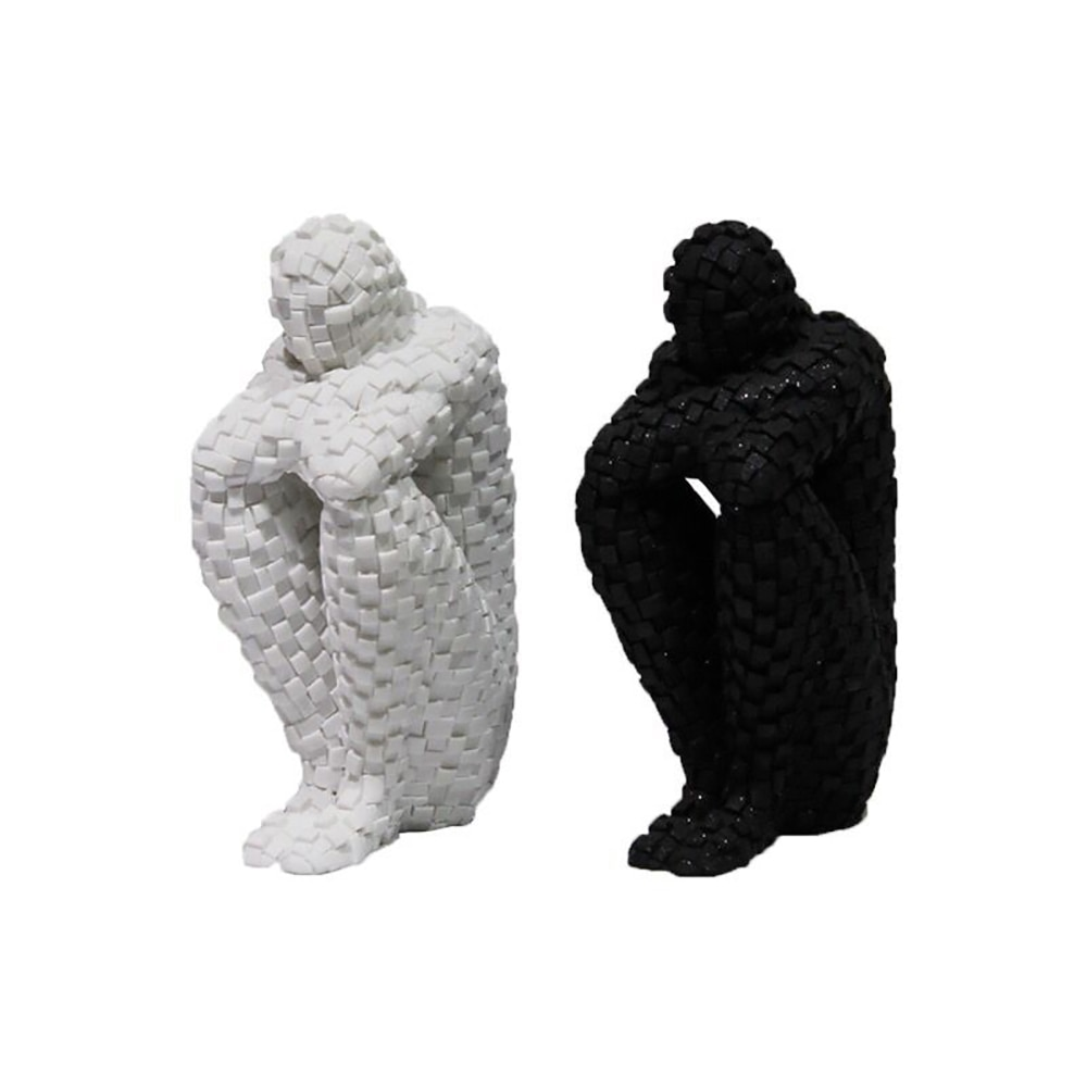 Spot Crafts Resin Ornaments Living Room Bedroom Home Black And White Mosaic People Personality Character Decoration Ornaments