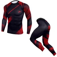 2021 new men running sport compression sets t shirt and pants suits jogging workout set male gym fitness tight sportswear