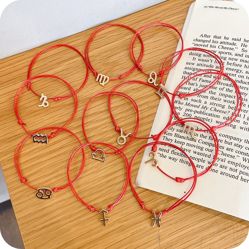 Golden Twelve Constellations Bracelets Red Rope Ins Special-Interest Design Simple Couple Carrying S