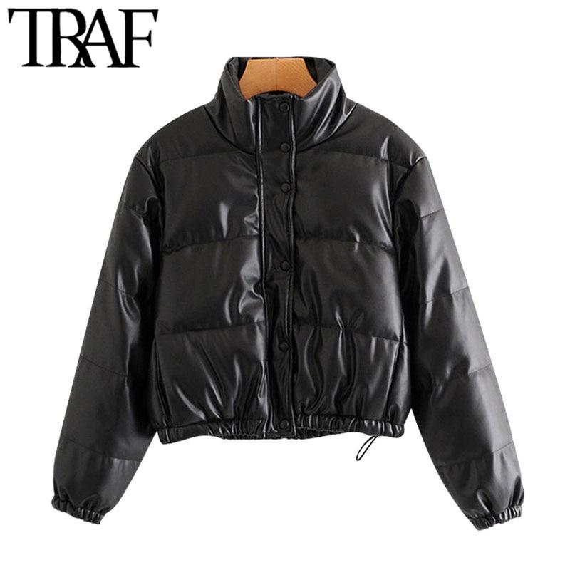 TRAF Women Fashion Faux Leather Thick Warm Padded Jacket Coat Vintage Long Sleeve Elastic Hem Female