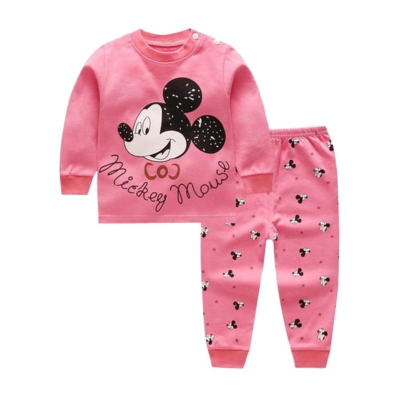 Conjunto de prendas para niño y niña de dibujos animados, ropa de manga larga para bebé recién nacido, Tops y pantalones, traje para niños, ropa interior de Minnie, otoño 2019