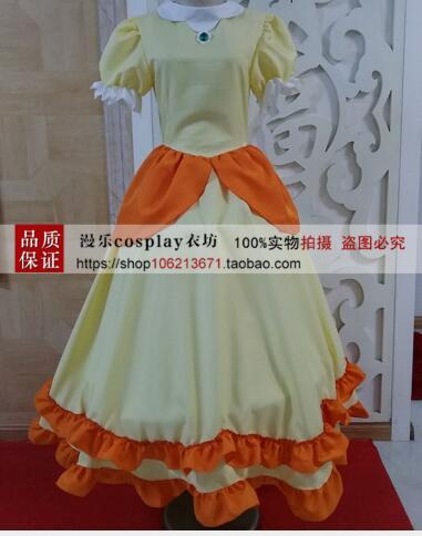 Super Mario Princess Peach Cosplay disfraz Peach vestidos de hermana Halloween uniformes para carnaval hechos a medida amarillo res