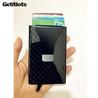 new real carbon fiber pop up slim wallet rfid blocking switch sliding sleeve protector business card case ultra thin cardholder