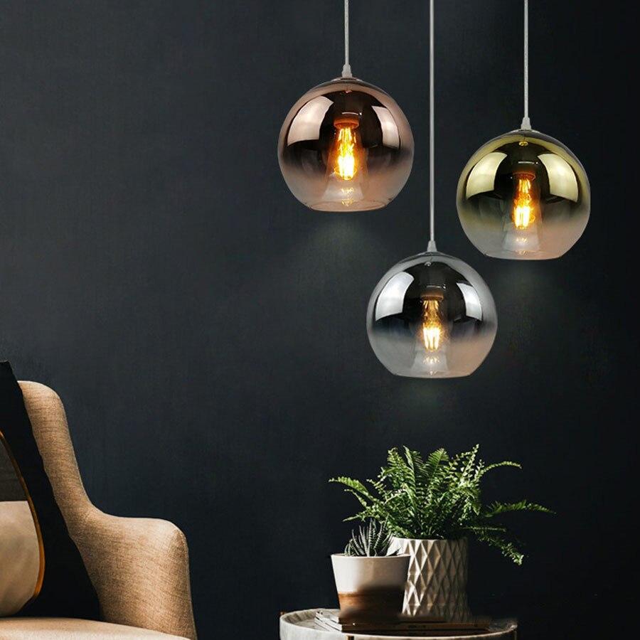 E27 الشمال نوم السرير غرفة الطعام مصباح معلق الحديثة LED كرة زجاجية قلادة أضواء الفاخرة الحديد الفن قلادة مصباح