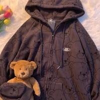 cartoon vintage spring and summer sweatshirt women zip up hoodie women fashion clothe hoodies sweatshirt women