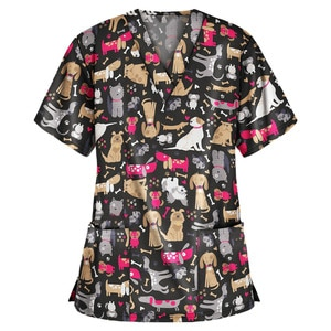 Dogs and Cats Print Scrub Tops Women Vet Nurse Uniform Cotton Short Sleeve Blouse Pet Groming Veterinaria Working Clothes A50