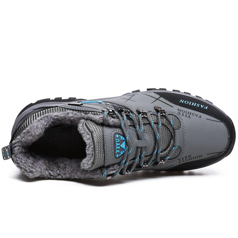 Bottes de neige étanches en cuir pour hommes, chaussures de marque, chaudes, Super, chaussures de randonnée pour l'extérieur, travail, taille 39 à 47