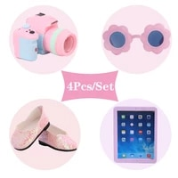 freeshiping 4pcsset doll clothes shoes camera glasses tablet fit 18 inch american of girl43cm baby doll accessories toy gift