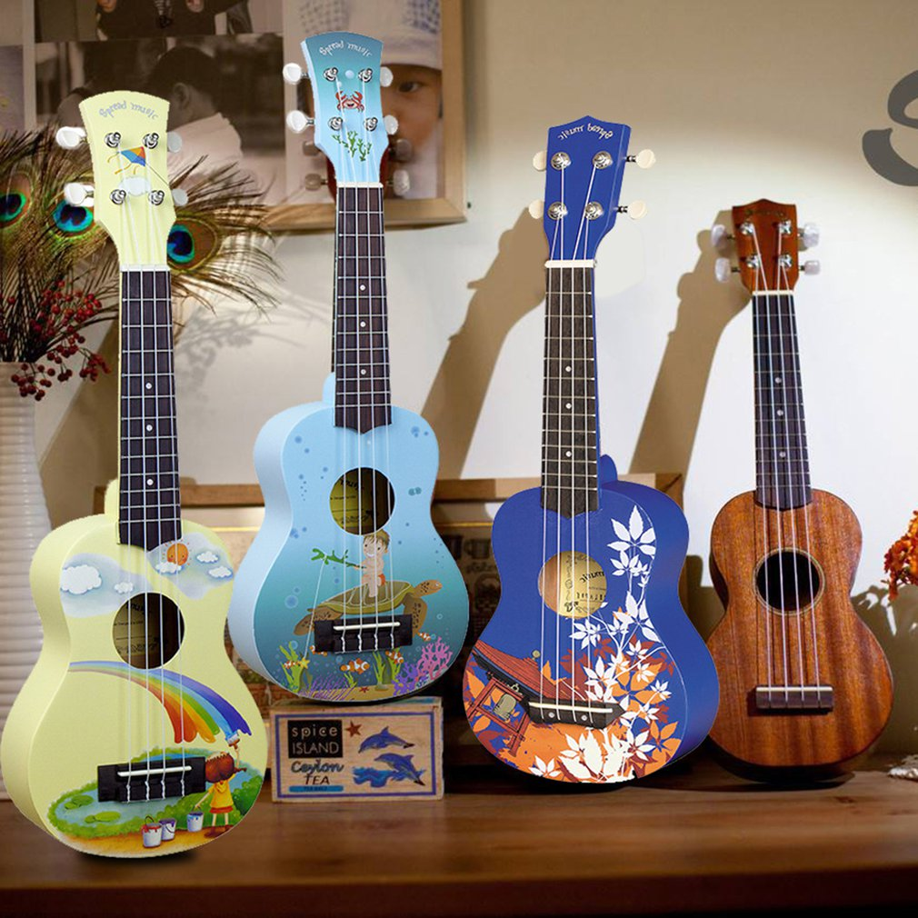 Ukulele 21 Inch Hand-Painted Cartoon Pattern 4 Strings Uke Bass Stringed Musical Instrument Perfect For Beginners enlarge