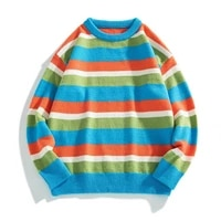harajuku rainbow striped knitted sweater men japanese streetwear oversized sweater men couple casual knitwear pullovers xxxl