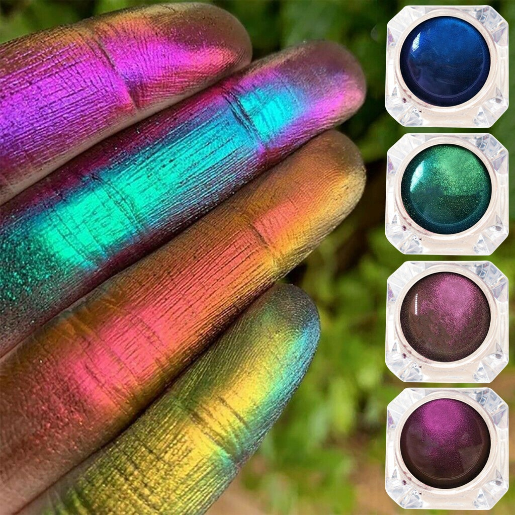 4 uds, paleta de sombra de ojos monocromática con brillo de luz polarizada, brillo de camaleón metálico ahumado azul, maquillaje de sombra de ojos k1