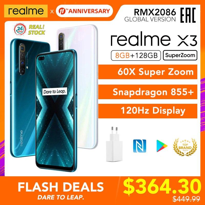Realme X3 SuperZoom глобальная Версия 8GB 128GB 60X Super Zoom Snapdragon 855 + 120Hz дисплей 64-мегапиксельная четырехъядерная камера UFS 3,0 30W зарядное устройство