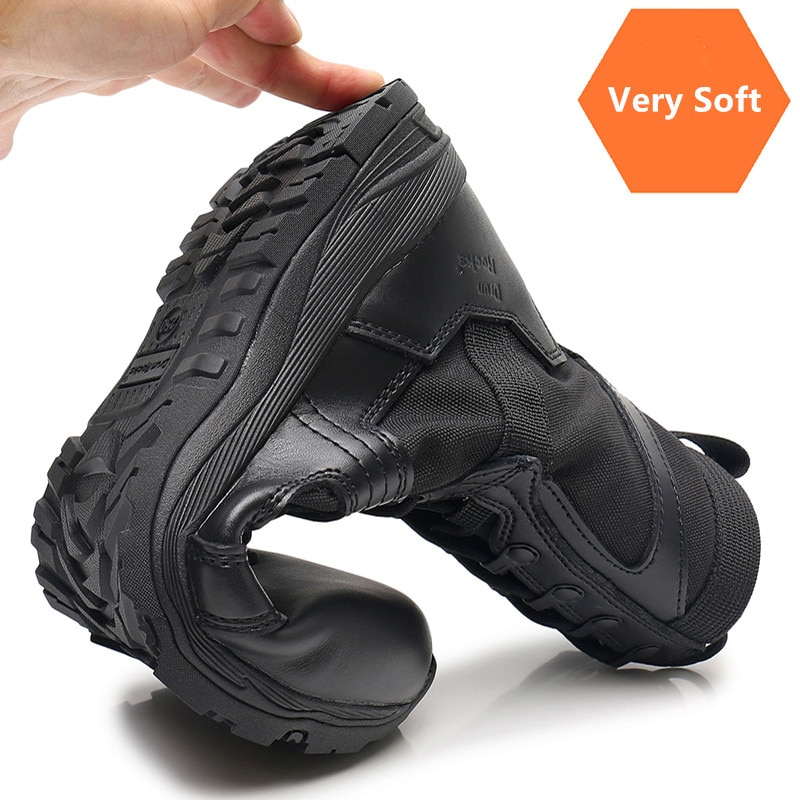 Military Boots Men Timber Land Male Army Black Combat Genuine Leather Mens Ankle Desert Summer Anti slip Troops Soldier Shoes