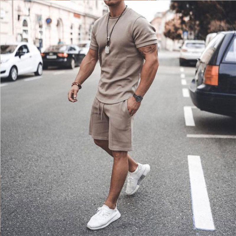 2021 Summer New Men Casual Shorts Sets Short Sleeve T Shirt +Shorts Solid Male Tracksuit Set Men's Brand Clothing 2 Pieces Sets