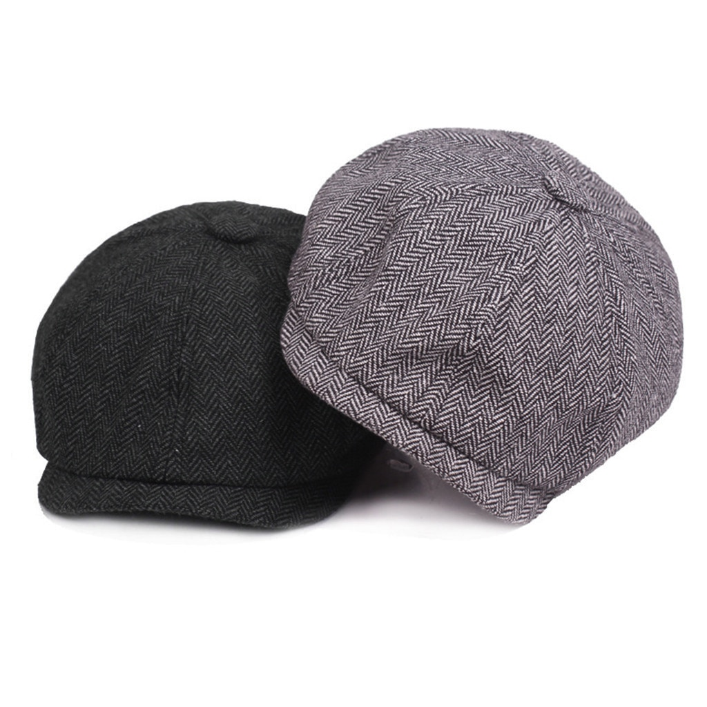 JAYCOSIN sombrero mujeres hombres boinas calientes negro gris espiguilla Newsboy Baker Boy sólido Casual Tweed plana hombres Gatsby sombrero #45