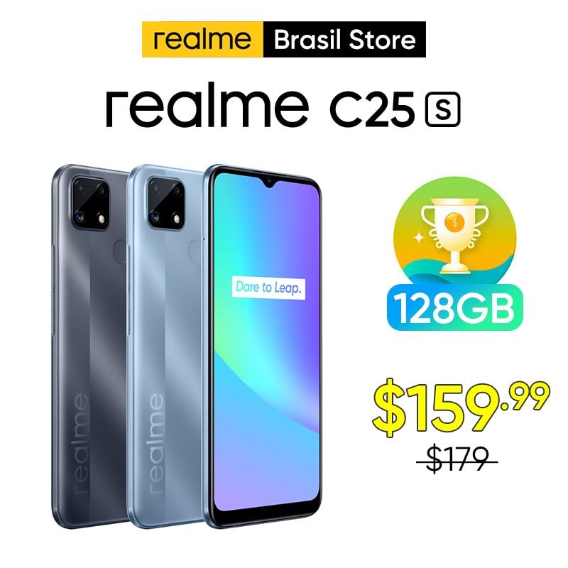 Realme C25S 4GB 128GB هاتف ذكي هيليو G85 ثماني النواة النسخة الروسية العالمية 6000mAh 6.5 ''حامل شاشة كبيرة NFC