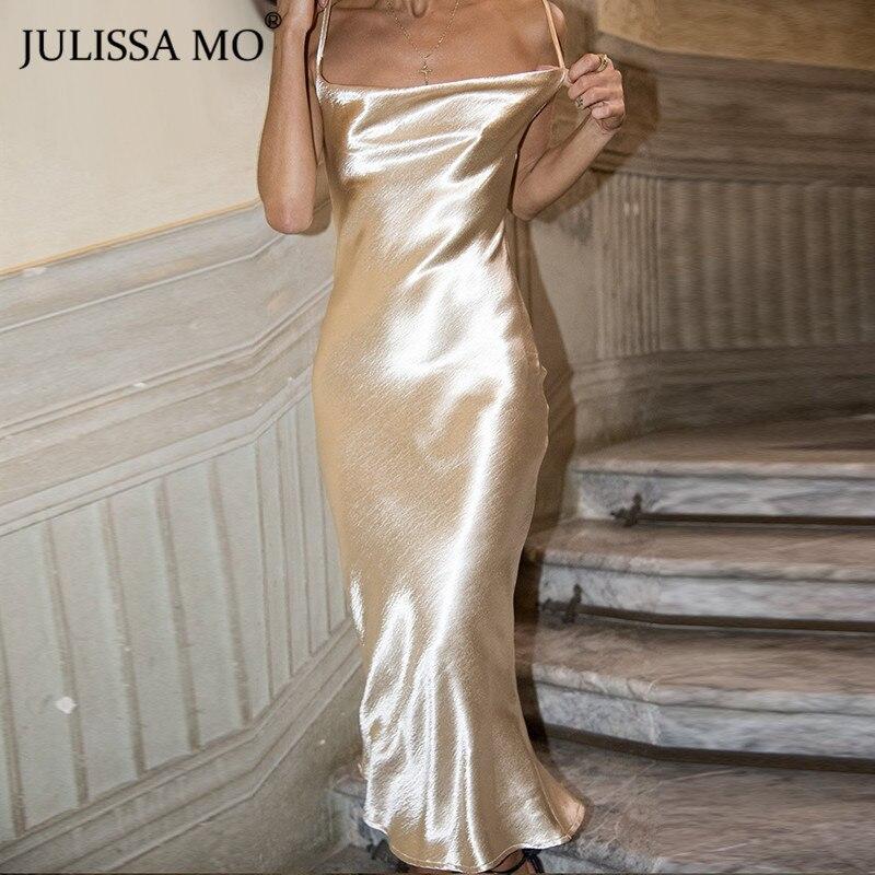 JULISSA MO Sexy Spaghetti Strap Backless Summer Dress Women Satin Lace Up Trumpet Long Dress Elegant