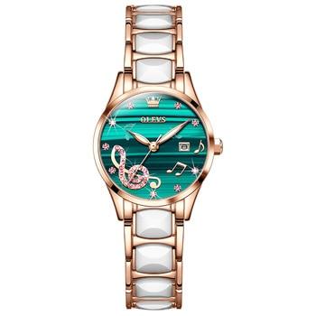 Fashion Ceramic Women Watches Luxury Brand Waterproof Calendar Musical Notes Ladies Watch Casual Dress Jewel Bracelet Wristwatch