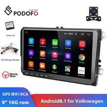 Podofo 2din 자동차 라디오 안드로이드 8.1 멀티미디어 플레이어 GPS 네비게이션 WIFI RCA 스테레오 폭스 바겐 골프 Skoda 좌석 자동 라디오
