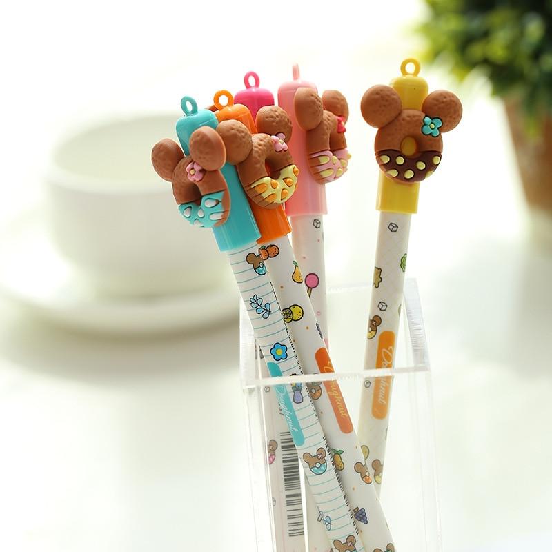 30 шт./лот мультяшная ручка медведь печенье 0 5 мм синие цветные стираемые гелевые