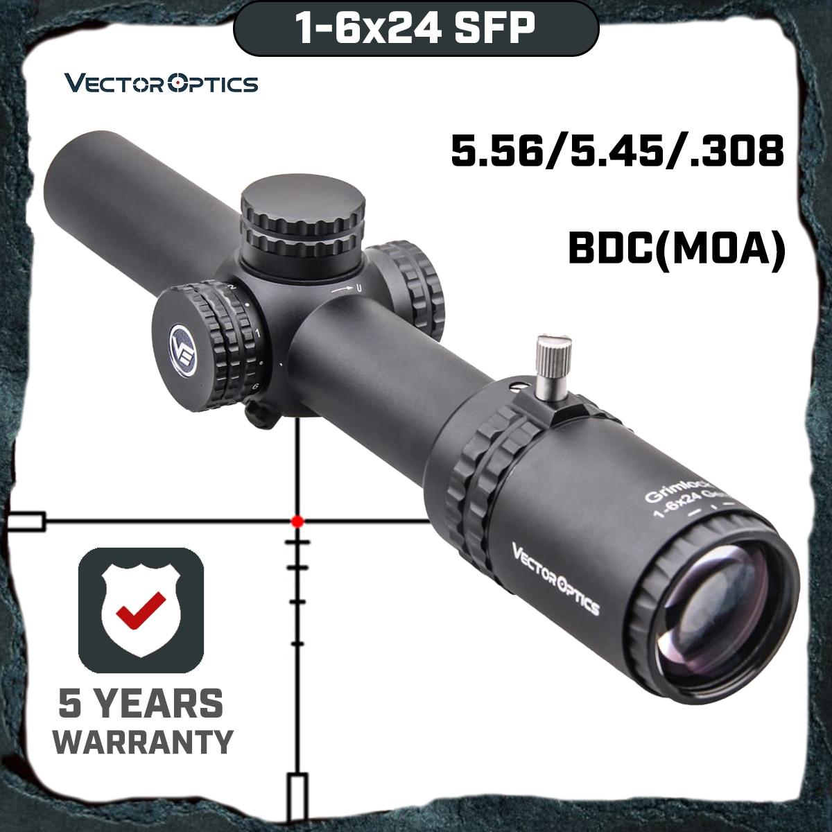 Óptica vetorial gen2 grimlock 1-6x24 bdc (moa) balístico retículo rifle scope centro ponto iluminado riflescope cqb. 223 ar15. 308