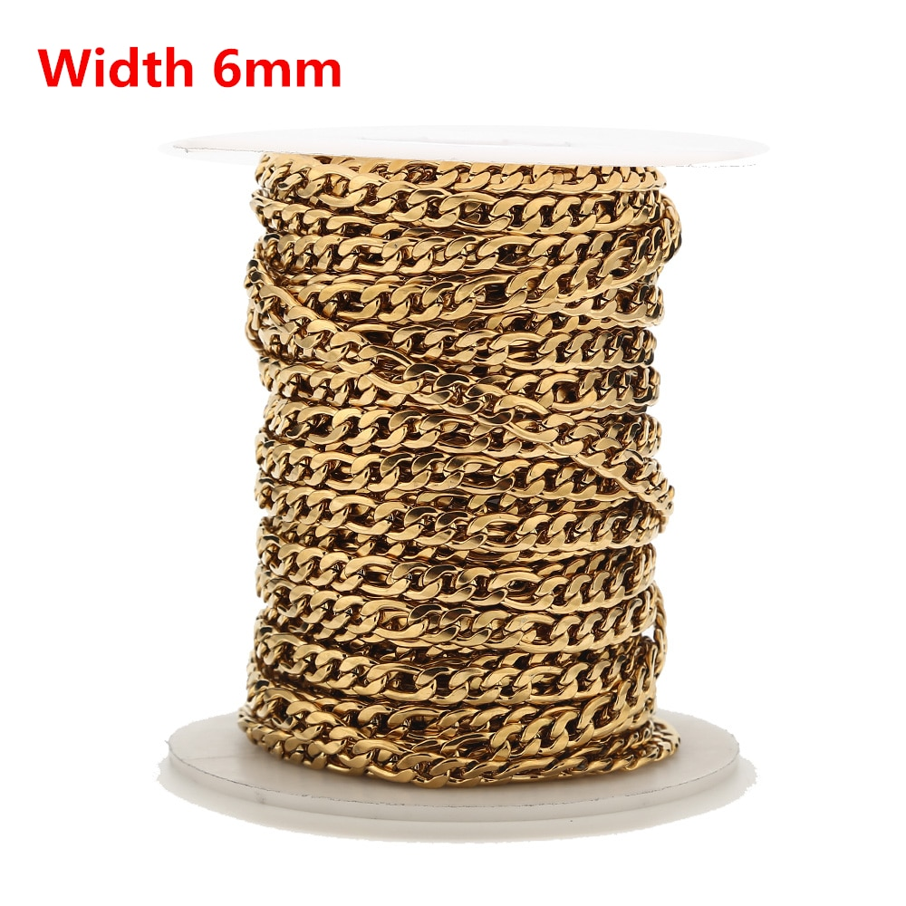 AliExpress - 1M/2M/5M Gold Plated Stainless Steel 6mm Width 3:1 Figaro Chain Necklace Cuban Curb Link Chains DIY Jewelry Making Accessories