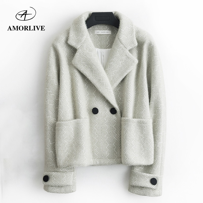AMOR LIVE Snowy Woolen Coat For Woman Elegant Suit Collar Short Jacket Autumn Winter Women Wool Coat пальто