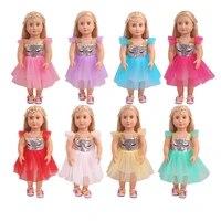 18 inch girls doll clothes glistening fairy gauze skirt american newborn dress baby toys fit 43 cm baby doll c834