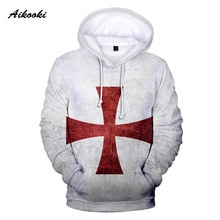 Aikooki Knights Templar Hoodies Men Hoody Sweatshirts 3D Mens Hooded Knights Templar Polluver Tracksuits Male White Design Coat