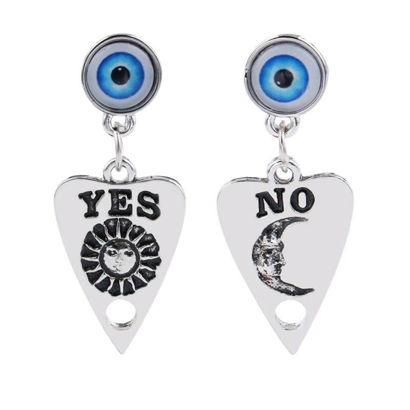 Um conjunto de gothic olho de deus ouija planchette gota brincos placa de bruxaria sol luar sem coração brincos de gota moda jóias