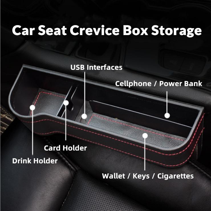 Caja de almacenamiento de cuero y plástico para asiento de coche, soporte...