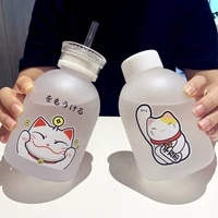500ml lucky cat plastic bottle bpa free cartoon transparentfrosted water bottles leak proof drinkware cute student cup