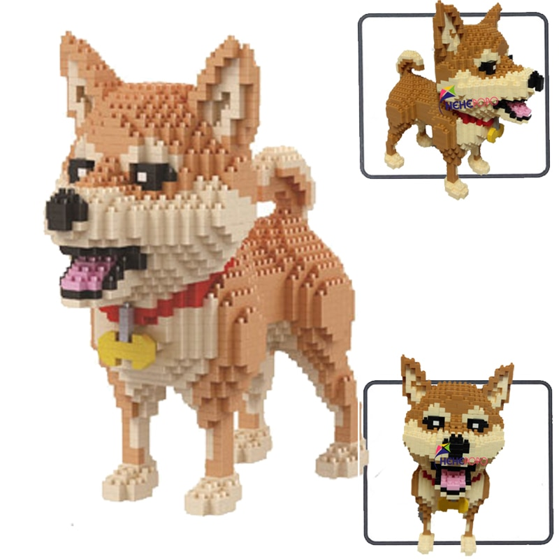 8805 shiba raça cão de estimação marrom animal 3d modelo 1850 pçs diy diamante mini construção blocos pequenos tijolo brinquedo para crianças sem caixa