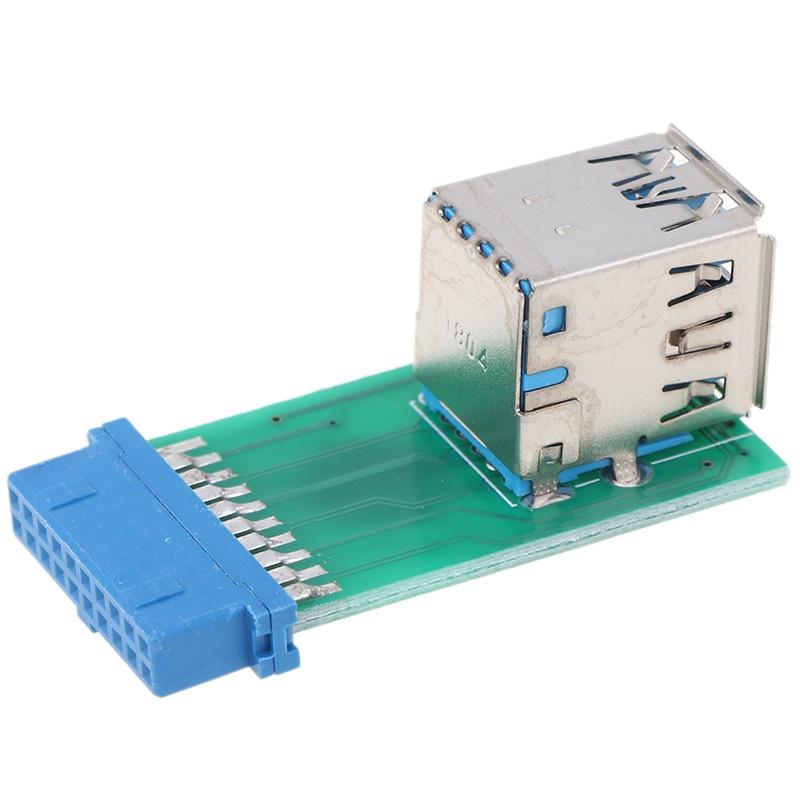 Universal Motherboard 19 Pin Header Zu 2 Ports USB 3,0 Typ A Buchse Port HUB Adapter PC Computer 1pc