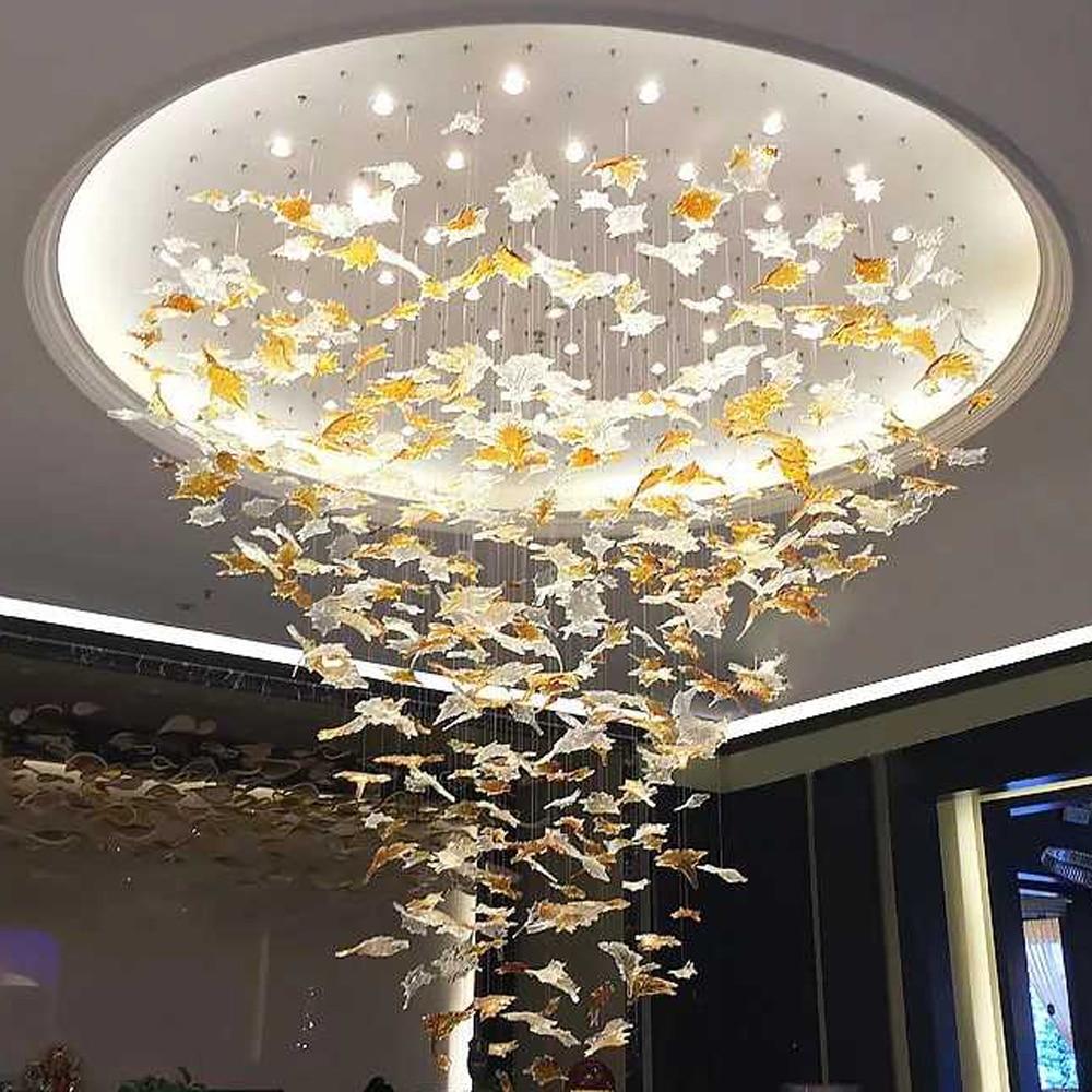Art Designer Large Hotel Lobby Chandelier Maple Leaves Decoration For Villa Led Hanglamp Luxury Project Lighting Free Style