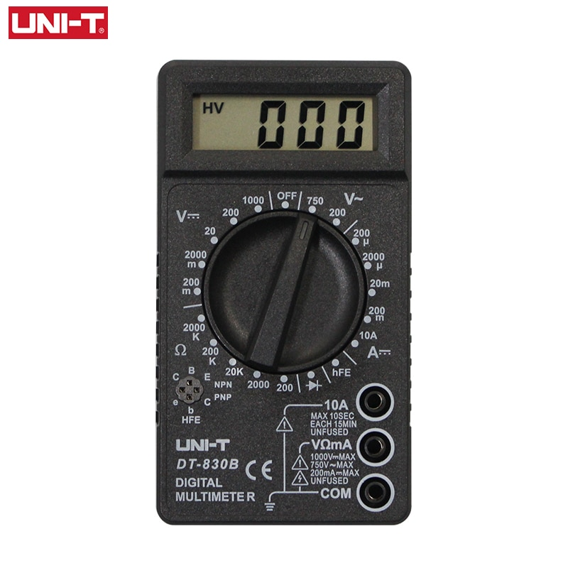 Multímetro Digital UNI-T DT830D DT830B CE 1999 contador eléctrico AC DC medidor de voltaje de corriente Transistor de resistencia Dide Ohm Tester